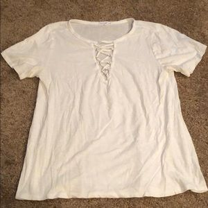 White v-neck with criss cross top